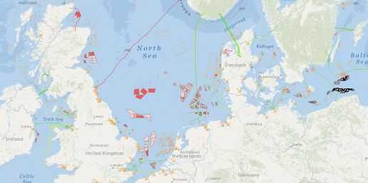Map offshore windfarms northern Europe