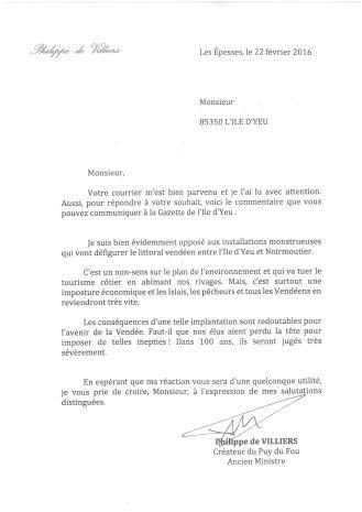 Lettre scannée de Philippe de Villiers